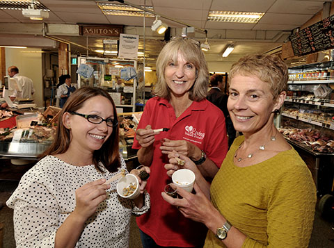 Sian B Roberts (centre) with some keen foodies on the tasting tour