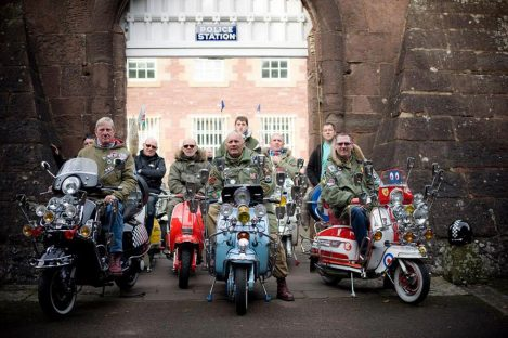 A group of mods on their bikes