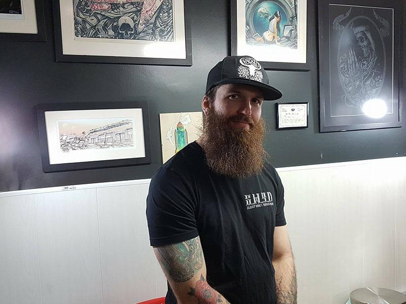 Aaron Usher in Sleep When Your Dead tattoo studio