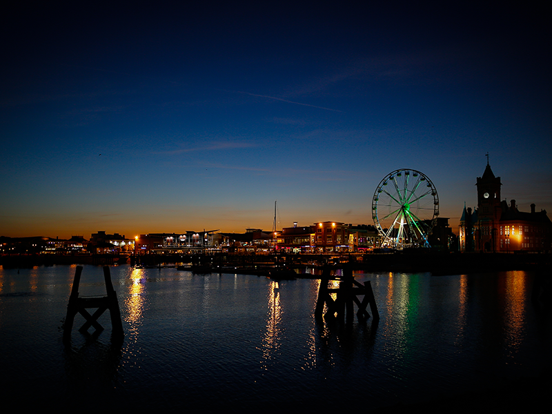 a picture of Cardiff bay at dusk