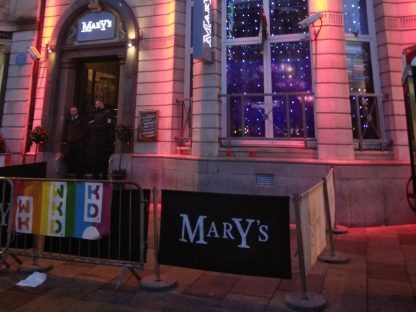 Entrance to the club Mary's