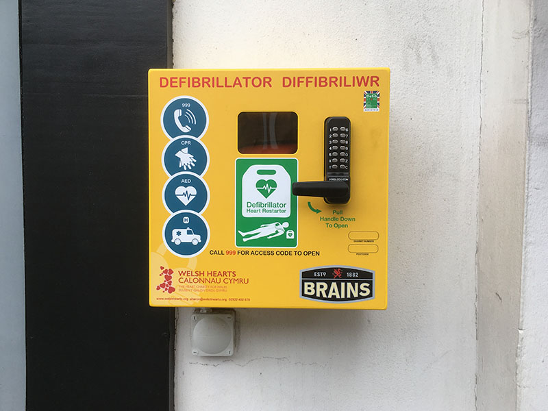 Oliver Cuenca photo Cardiff defibrillator Crwys pub Welsh Hearts charity appeal saving lives