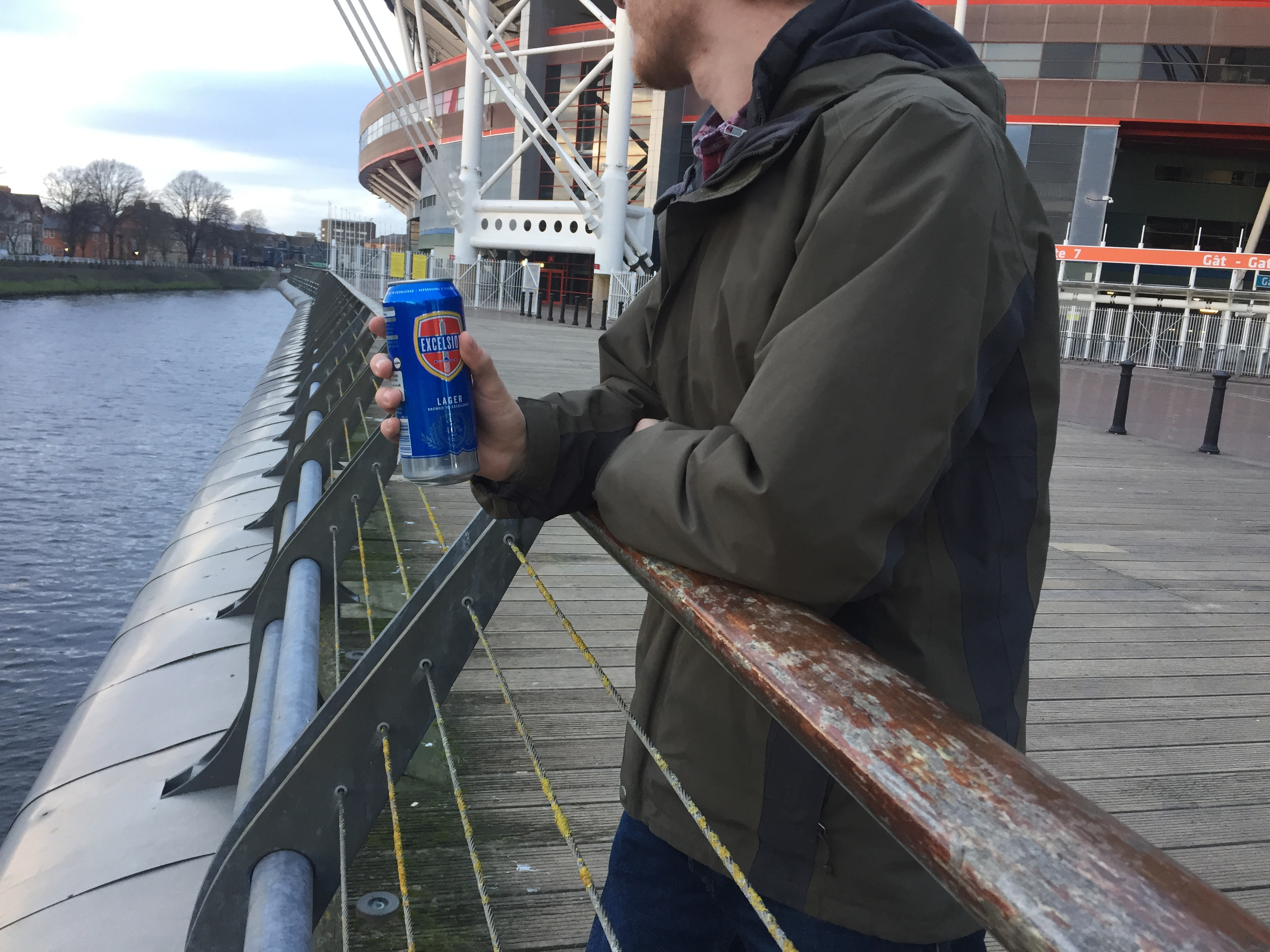 Man drinking alcohol in Cardiff