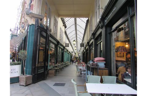 Cardiff arcade view with restaurants and coffee shops