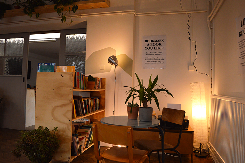 Picture of the co-working space and library of Gentle/Radical