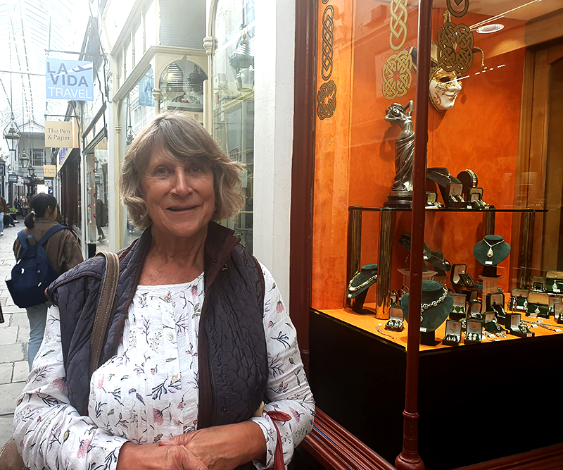 Voxpop woman in Cardiff's Arcade