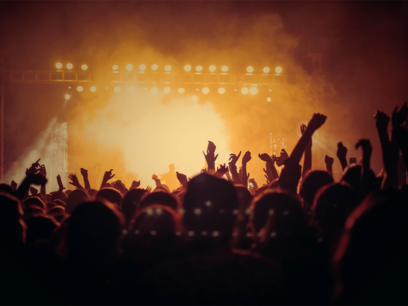 A busy crowd with their arms in the air at a rock music concert.