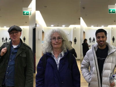 A collage of members of the public outside the public toilets in St David's shopping centre.
