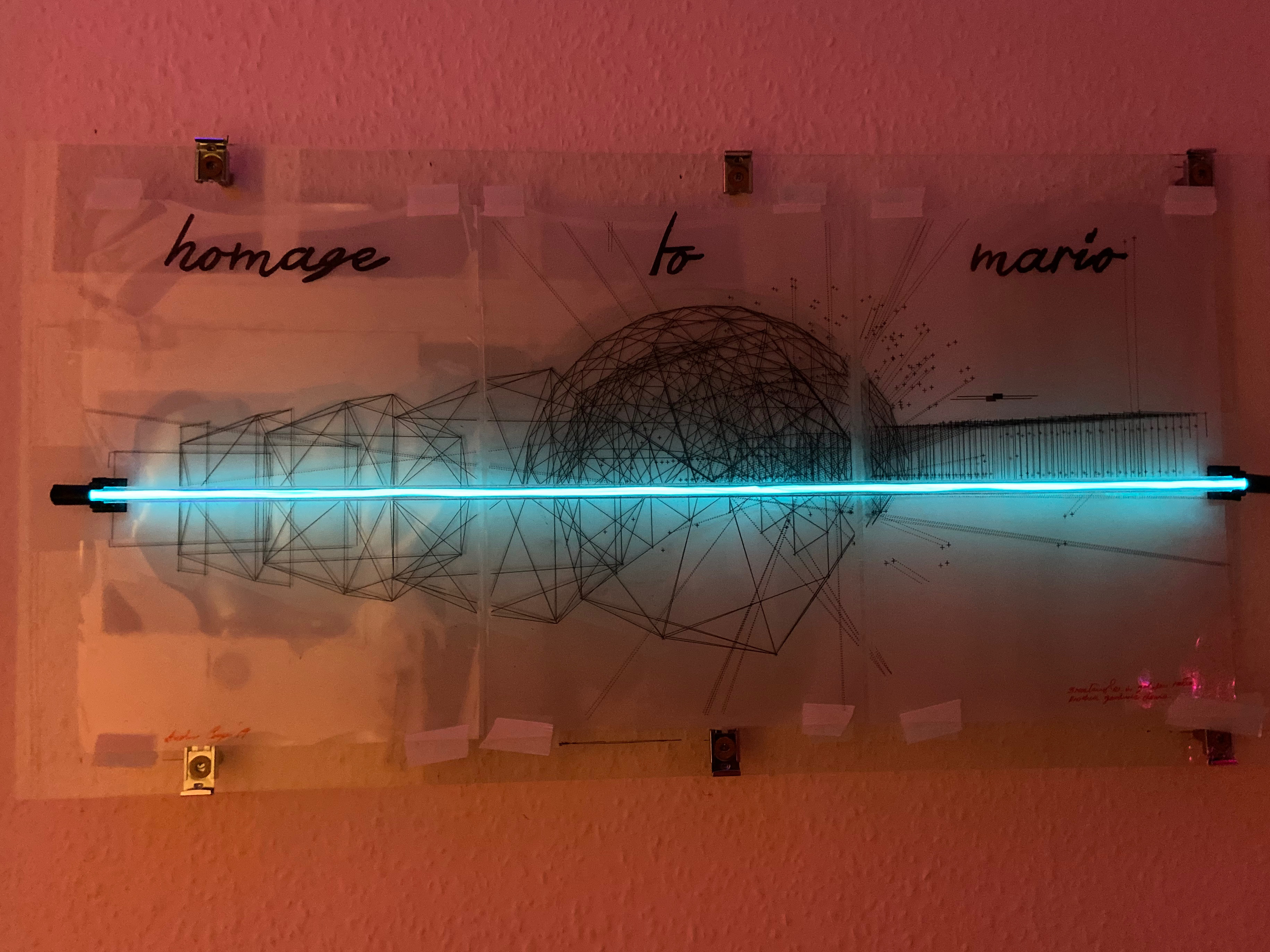 """A neon blue line strikes through geometric line drawings of shapes, with the caption """"homage to Mario"""" above"""