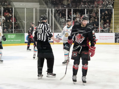Cardiff Devils playing at Viola Arena against the Belfast Giants