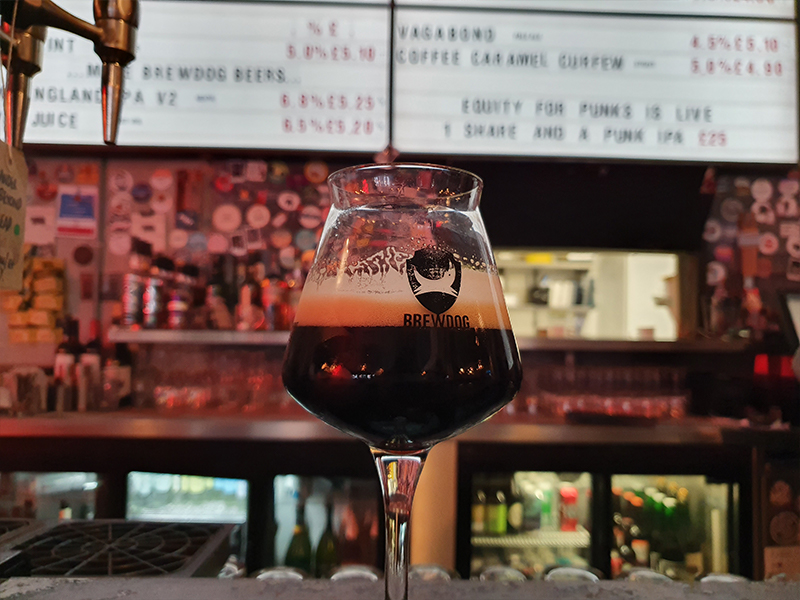 A gluten-free sweet stout beer for the Month of Darkness at BrewDog in Cardiff.