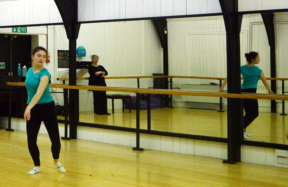Rubicon Dance student dances in their studio on Nora street