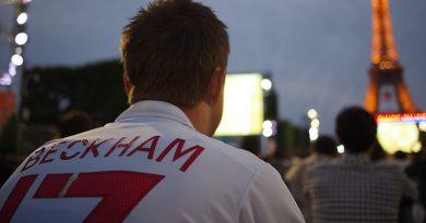 England fan wearing a David Beckham shirt