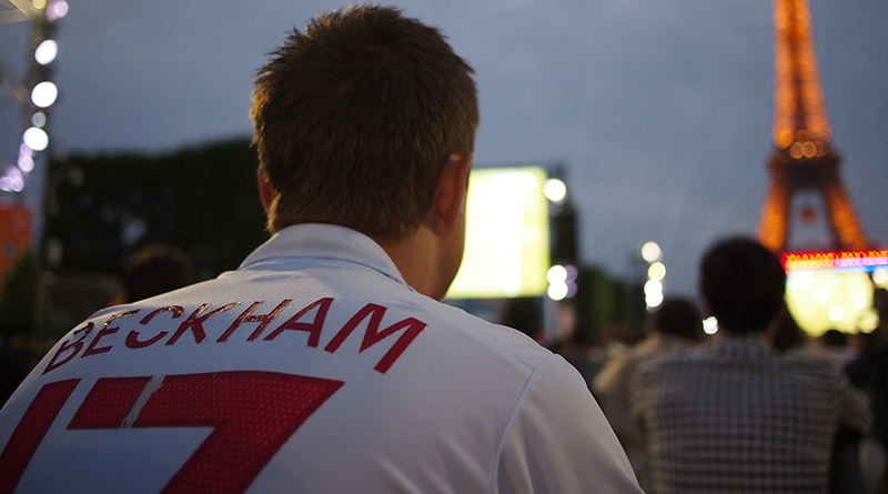 England fan wearing a David Beckham shirt