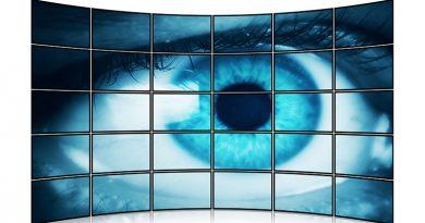 Blue eye on multiscreen monitor