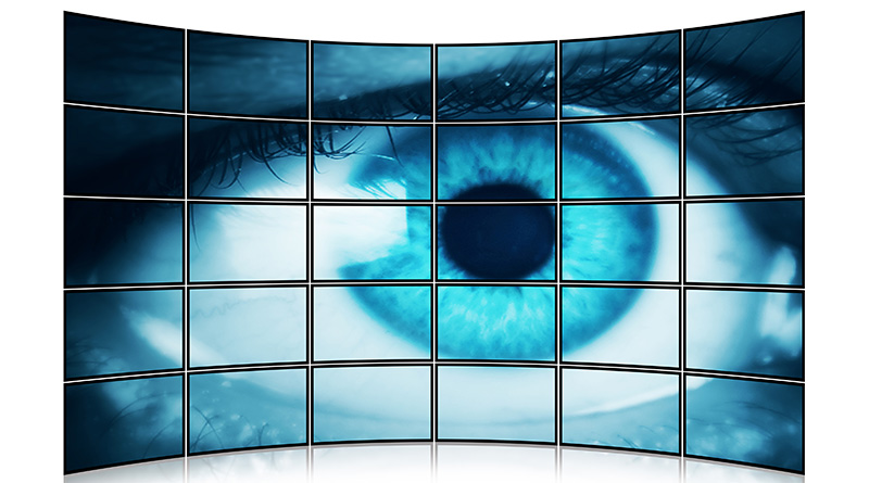 Blue eye on multiscreen monitor