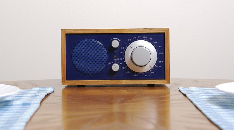 Radio on a kitchen table