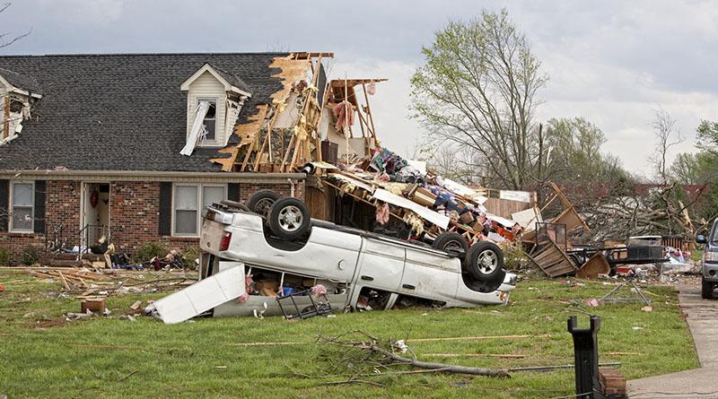A home damaged by a tornado