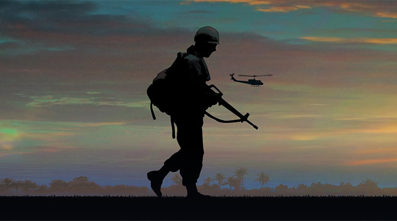 Silhouette of an American soldier in vietnam