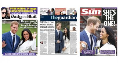 Newspaper front pages, showing the engagement of Prince Harry