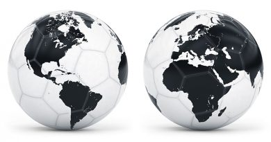 Soccer balls depicted as globes
