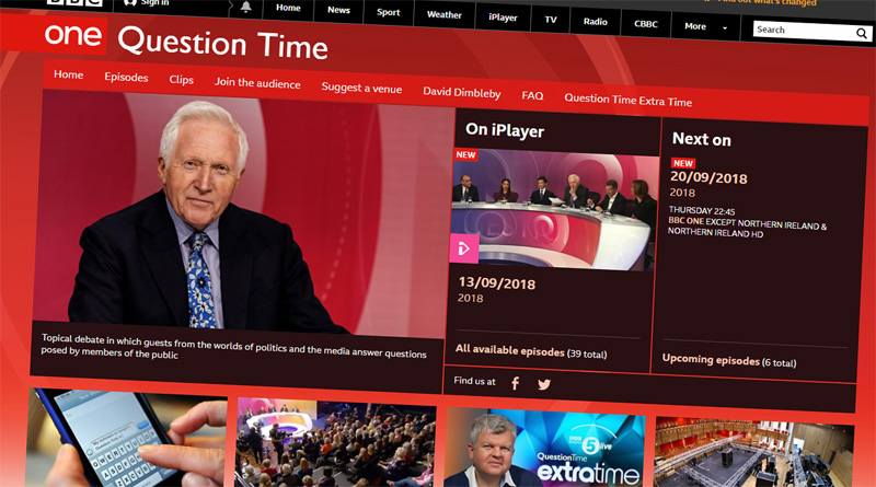 A screen shot of the BBC Question Time website