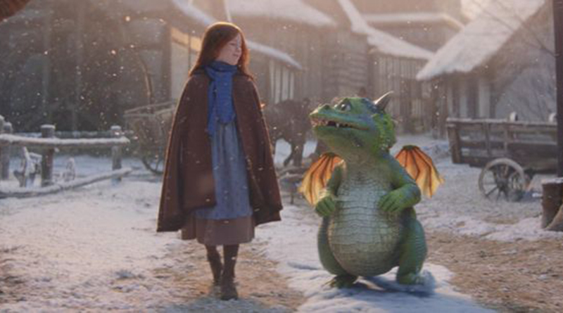 A picture of a young girl and a small green dragon from the John Lewis Christmas advert